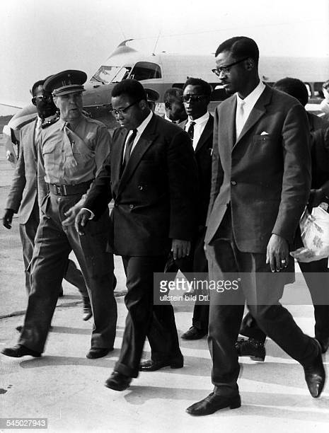 PATRICE LUMUMBA Congolese political leader Prime Minister Lumumba and Congolese President Joseph Kasavubu at the airport at Leopoldville Congo 15...