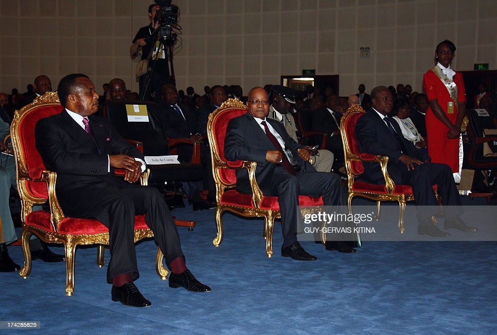 Congolese president Denis Sassou Nguesso (L), South African president Jacob Zuma (C) and Ghanean president John Dramani Mahama (R) attend the opening of the Forbes Africa Forum, on July 23, 2013 in Brazzaville. This first Forbes Afrique Forum will be held under the theme 'The emergence of an African middle class: conditions, issues and challenges.'