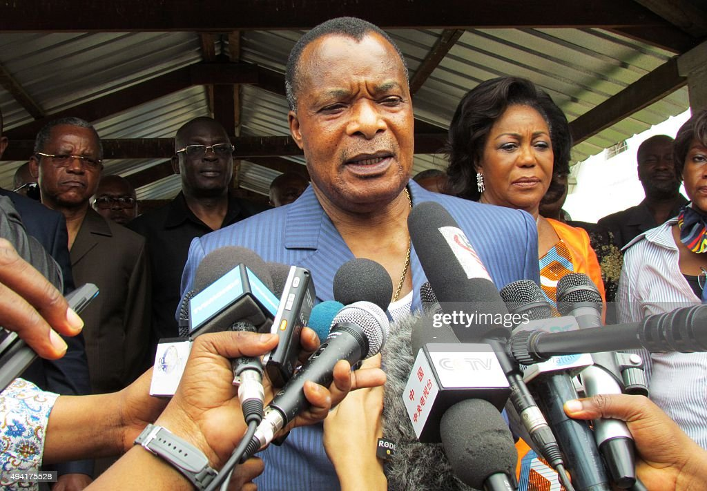 Congolese President Denis Sassou Nguessou talks to the media after voting on October 25 2015 in Brazzaville People in the Republic of Congo began...