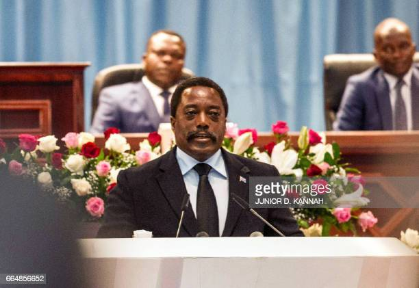 Congolese President Joseph Kabila delivers a speech to the nation in front of the upper and the lower chambers at the Palace of the People in...