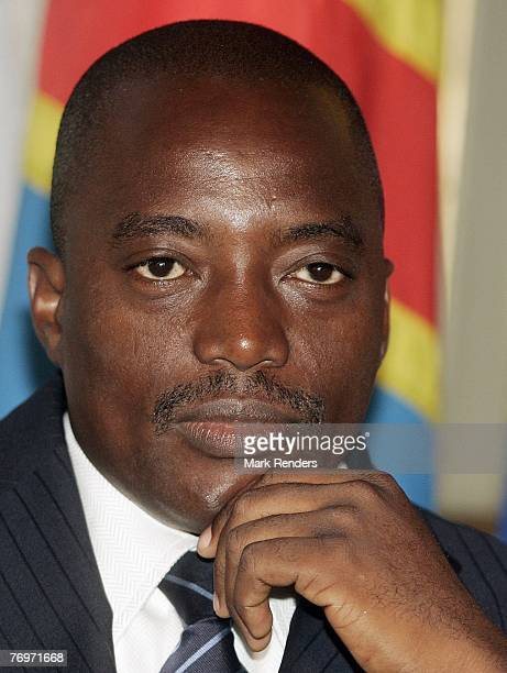 Congolese President Joseph Kabila is seen at te Residence of the Belgian Prime Minister Guy Verhofstadt on September 24 2007 in Brussels Belgium...