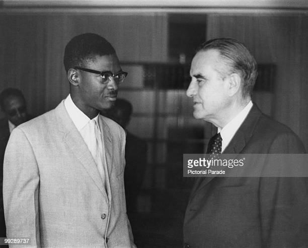 Congolese Prime Minister Patrice Lumumba with American diplomat W Averell Harriman Leopoldville Congo 9th September 1960 Harriman is on a factfinding...