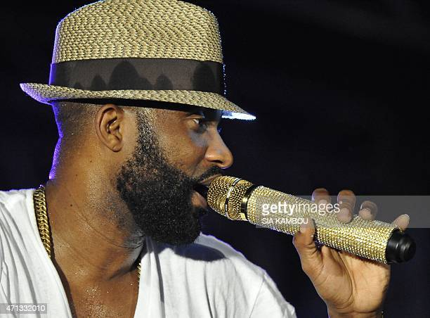Congolese singersongwriter Fally Ipupa performs during the Festival de Musiques Urbaines d'Anoumabo in the Koumassi neighborhood of Abidjan on April...