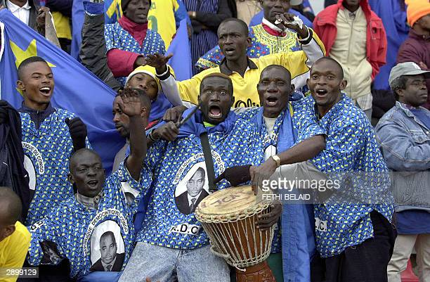 Congolese supporters are pictured 25 January 2004 at the El Menzah stadium in Tunis during an African Nations Cup group A match between Guinea and...