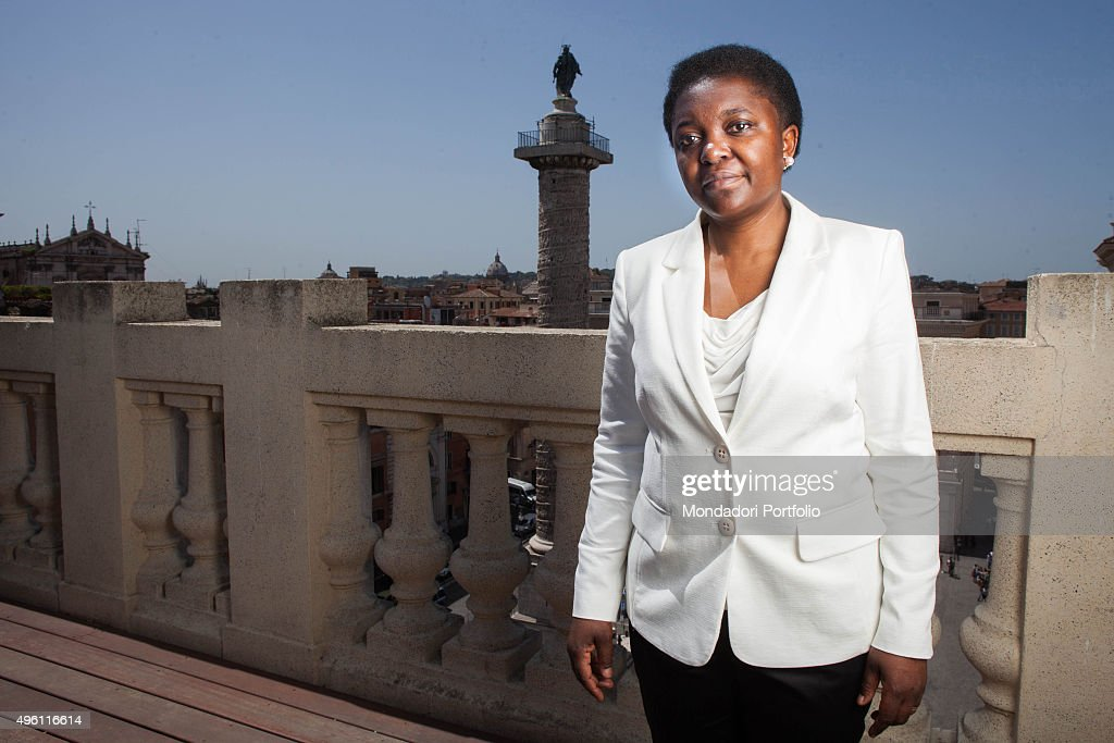 Congolese-born Italian politician and Minister of Integration <a gi-track='captionPersonalityLinkClicked' href=/galleries/search?phrase=C%C3%A9cile+Kyenge&family=editorial&specificpeople=10908084 ng-click='$event.stopPropagation()'>Cécile Kyenge</a> (Kashetu Kyenge) posing for a photo shooting on the terrace of the building of Ministry of Integration of the Italian Republic. Rome, Italy. June 2013