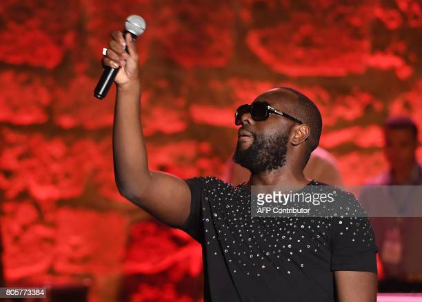 CongoleseFrench rapper and singer Maitre Gims performs at the Roman theater of Carthage near the capital Tunis on July 2 2017 BELAID