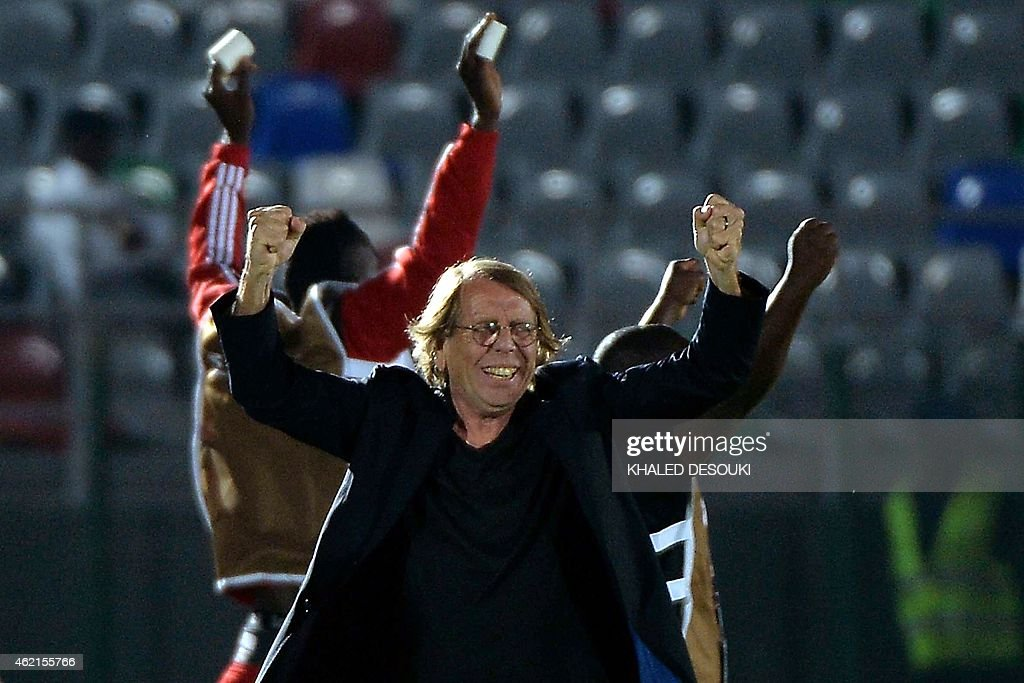 Congo's coach <a gi-track='captionPersonalityLinkClicked' href=/galleries/search?phrase=Claude+Le+Roy&family=editorial&specificpeople=790794 ng-click='$event.stopPropagation()'>Claude Le Roy</a> celebrates after his team won the 2015 African Cup of Nations group A football match between Congo and Burkina Faso in Ebebiyin on January 25, 2015. AFP PHOTO / KHALED DESOUKI