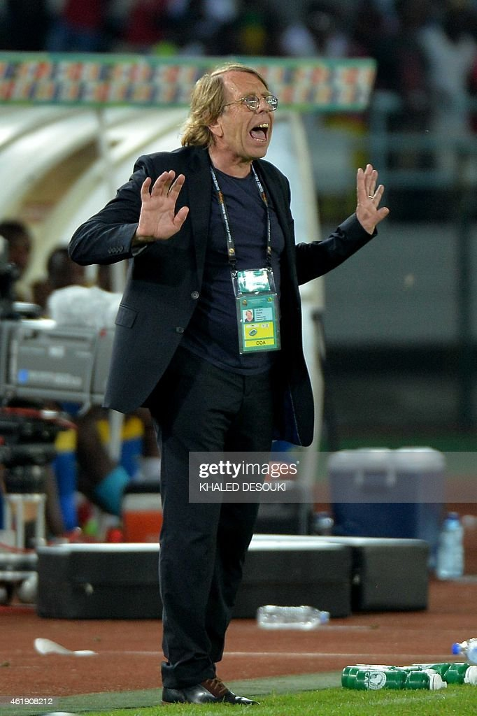 Congo's coach <a gi-track='captionPersonalityLinkClicked' href=/galleries/search?phrase=Claude+Le+Roy&family=editorial&specificpeople=790794 ng-click='$event.stopPropagation()'>Claude Le Roy</a> gestures during the 2015 African Cup of Nations group A football match between Gabon and Congo in Bata on January 21, 2015.