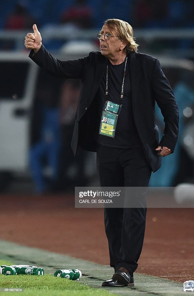 Congo's coach <a gi-track='captionPersonalityLinkClicked' href=/galleries/search?phrase=Claude+Le+Roy&family=editorial&specificpeople=790794 ng-click='$event.stopPropagation()'>Claude Le Roy</a> gesturesduring the 2015 African Cup of Nations group A football match between Gabon and Congo in Bata on January 21, 2015. AFP PHOTO / CARL DE SOUZA