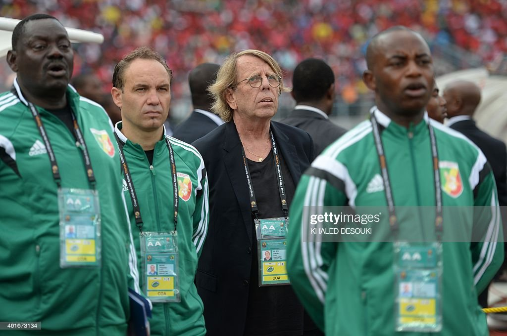Congo's coach <a gi-track='captionPersonalityLinkClicked' href=/galleries/search?phrase=Claude+Le+Roy&family=editorial&specificpeople=790794 ng-click='$event.stopPropagation()'>Claude Le Roy</a> (C) listens to the national anthems ahead of the 2015 African Cup of Nations group A football match between Equatorial Guinea and Congo at Bata Stadium in Bata on January 17, 2015. AFP PHOTO / KHALED DESOUKI