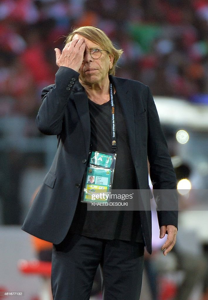 Congo's coach <a gi-track='captionPersonalityLinkClicked' href=/galleries/search?phrase=Claude+Le+Roy&family=editorial&specificpeople=790794 ng-click='$event.stopPropagation()'>Claude Le Roy</a> reacts during the 2015 African Cup of Nations group A football match between Equatorial Guinea and Congo at Bata Stadium in Bata on January 17, 2015.