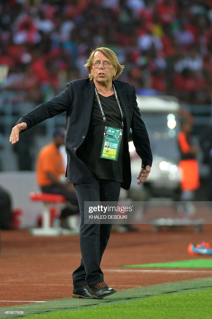 Congo's coach <a gi-track='captionPersonalityLinkClicked' href=/galleries/search?phrase=Claude+Le+Roy&family=editorial&specificpeople=790794 ng-click='$event.stopPropagation()'>Claude Le Roy</a> reacts during the 2015 African Cup of Nations group A football match between Equatorial Guinea and Congo at Bata Stadium in Bata on January 17, 2015. AFP PHOTO / KHALED DESOUKI