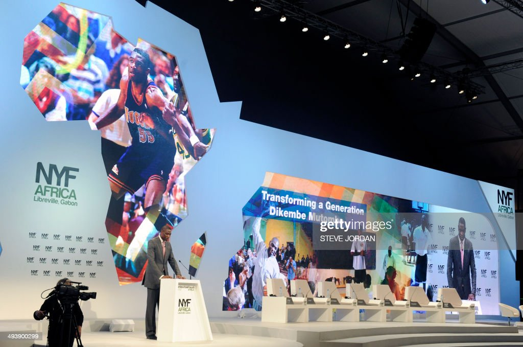 Congo's Dikembe Mutombo Chairman and President of the Dikembe Mutombo Foundation and Former NBA player speaks at the 2014 New York Forum Africa in...