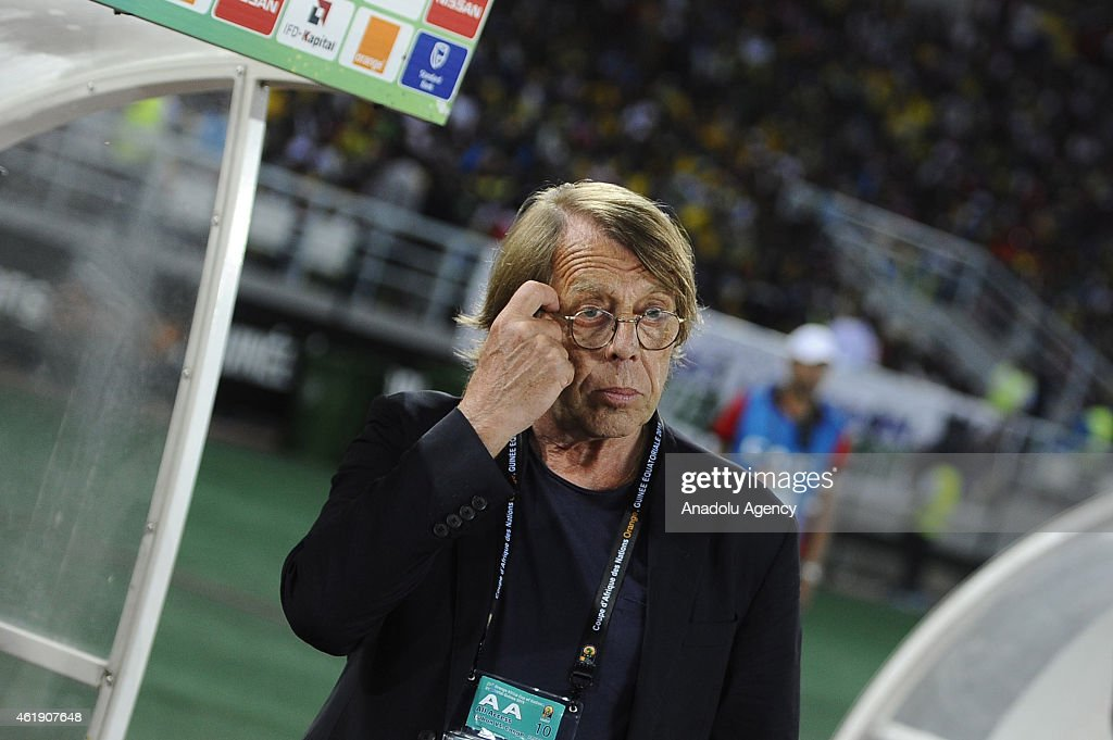 Congo's head coach <a gi-track='captionPersonalityLinkClicked' href=/galleries/search?phrase=Claude+Le+Roy&family=editorial&specificpeople=790794 ng-click='$event.stopPropagation()'>Claude Le Roy</a> during 2015 African Cup of Nations Group A soccer match between Congo and Gabon at Bata Stadium in Bata on January 21, 2015.