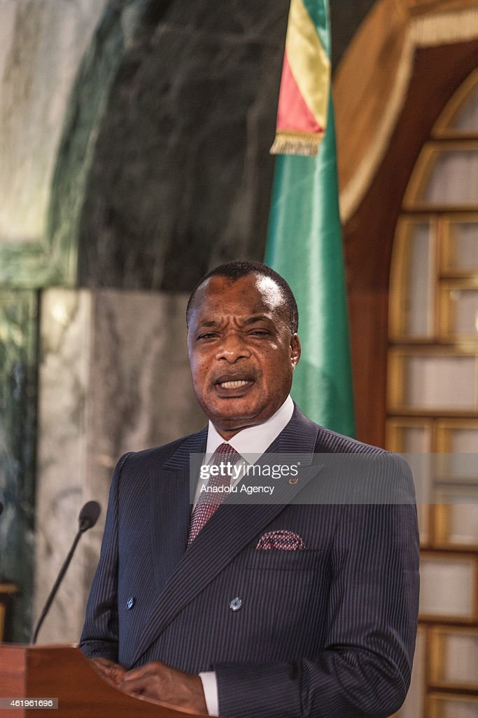 Congo's President <a gi-track='captionPersonalityLinkClicked' href=/galleries/search?phrase=Denis+Sassou+Nguesso&family=editorial&specificpeople=4126626 ng-click='$event.stopPropagation()'>Denis Sassou Nguesso</a> holds a press conference at presidential palace in Tunis, Tunisia, on January 22, 2015.