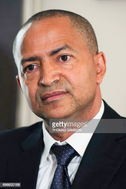 DR Congo's prominent opposition politician Moise Katumbi holds a press conference with his lawyer on June 16 2017 in Paris Exiled Democratic Republic...