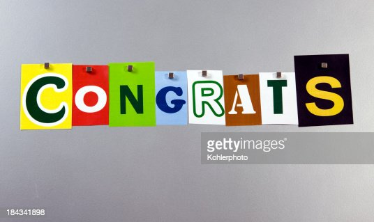 Congrats pinned on a silver metal pin board