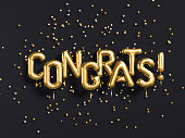 Congrats text with golden confetti. Congratulations banner. 3d rendering