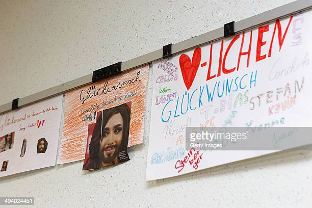 Congratulation cards for Conchita Wurst winner of the Eurovision Song Contest 2014 are seen at Volksschule on May 14 2014 in Bad Mitterndorf Austria