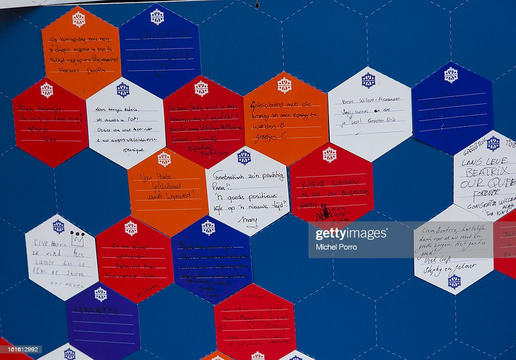 . Congratulations messages to Prince Willem Alexander and Princess Maxima and thank you notes to Queen Beatrix of The Netherlands are displayed at The Bijenkorf department store in preparation of the upcoming 30 April 2013 coronation on February 13, 2013 in Amsterdam, Netherlands.