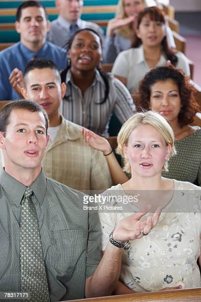 Congregation in church singing