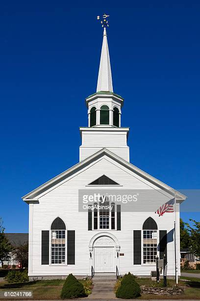 Congregational Church of Wells with White Clapboard, Maine, USA.