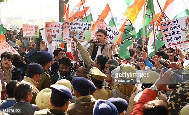 Congress activists protest against demonetization during a Jan Vedna campaign from Jantar Mantar to RBI office on January 18 2017 in New Delhi India...
