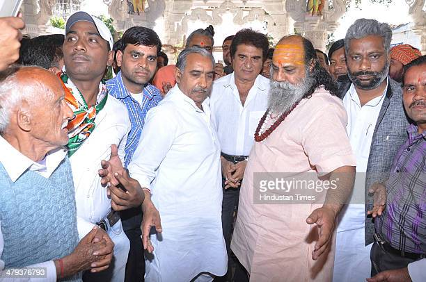 Congress candidate Raj Babbar visited ancient Dudheshwar Nath temple in old city on March 18 2014 in Ghaziabad India He is contesting against Exarmy...