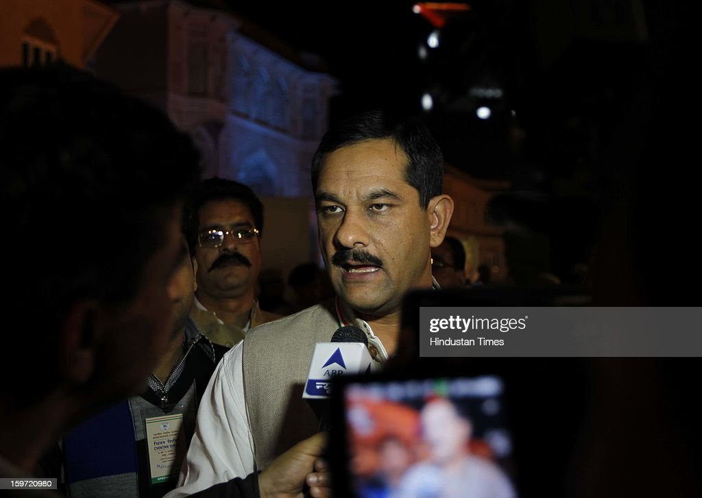 Congress Congress leader Jatinder Singh talking to media after coming out from Chintan Shivir at Birla Auditorium on January 19, 2013 in Jaipur, India. Rahul Gandhi was appointed as the Vice President of Congress Party by the Congress Working Committee.