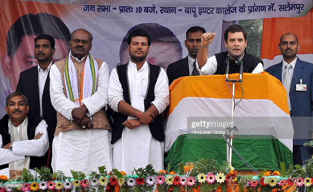 Congress General Secretary <a gi-track='captionPersonalityLinkClicked' href=/galleries/search?phrase=Rahul+Gandhi&family=editorial&specificpeople=171802 ng-click='$event.stopPropagation()'>Rahul Gandhi</a> addresses a public meeting at Salempur on January 9, 2012 in Deoria, India. The congress leader hit out at the various political parties during election rallies in Ballia and Deoria, ahead of the Uttar Pradesh assembly elections to be held in February.