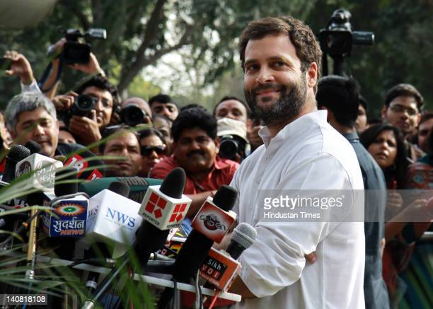 Congress General Secretary Rahul Gandhi addresses the media on Assembly election result on March 6 2012 in New Delhi India Accepting the...