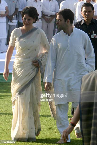 Congress General Secretary Rahul Gandhi with sister Priyanka Gandhi during the 19th death anniversary observation of their father and former Prime...