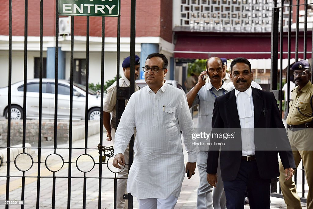 Congress leader Ajay Maken coming out after meeting with Election Commissioner at Election Commission office on July 21 2016 in New Delhi India The...