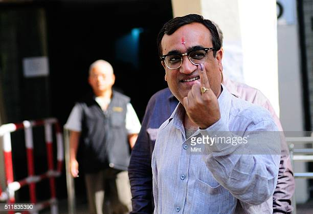 Congress leader Ajay Maken showing the mark after voting for general election of the 16th Lok Sabha 2014 at Delhi on April 10 2014 in New Delhi India