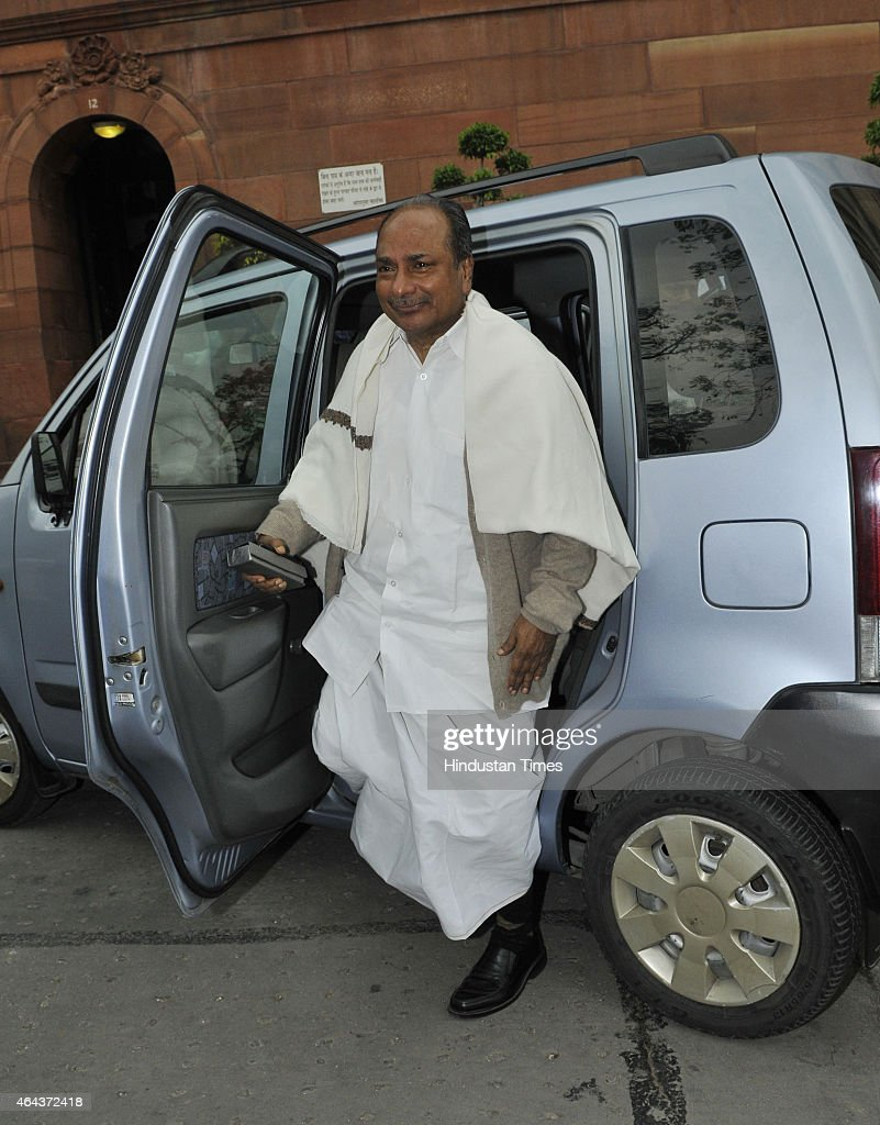 Congress leader AK Antony arrives to attend the Budget session on February 25, 2015 in New Delhi, India. After introducing the controversial Land Acquisition Bill, Government looks set to bring the Coal and Citizenship Bills in Lok Sabha that will replace the ordinances brought by it in this regard earlier.