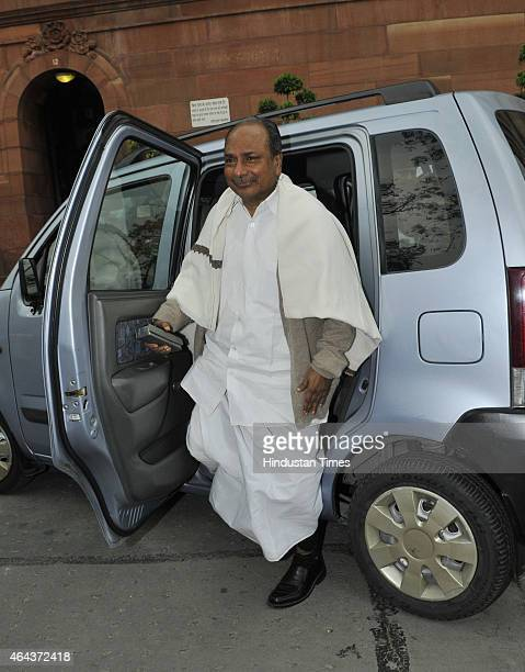 Congress leader AK Antony arrives to attend the Budget session on February 25 2015 in New Delhi India After introducing the controversial Land...