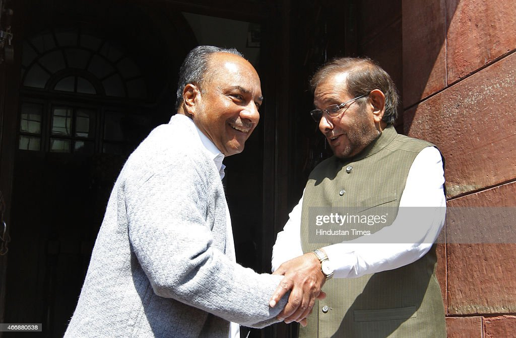 Congress leader AK Antony with JD (U) Leader Sharad Yadav at Parliament House on March 19, 2015 in New Delhi, India. Opposition forced deferment of consideration of the contentious Mines and Minerals Bill in Rajya Sabha till tomorrow, arguing that mineral-bearing states had not been consulted.