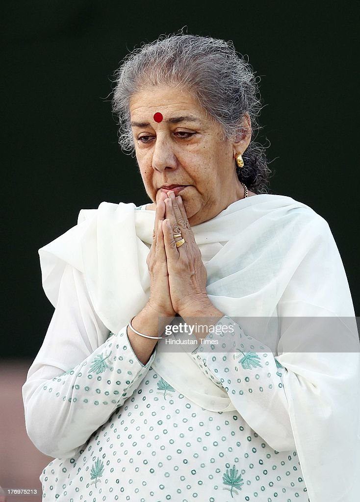 Congress leader Ambika Soni pays tribute to former Indian Prime Minister Rajiv Gandhi on his birth anniversary at his memorial on August 20, 2013 in New Delhi, India. Rajiv Gandhi, who heralded the information and communication technology revolution in the country, was born on August 20, 1944 and served as the sixth Prime Minister of India from 1984-1989. He was assassinated by the LTTE on May 21, 1991 at Sriperumbudur in Tamil Nadu while addressing an election campaign.