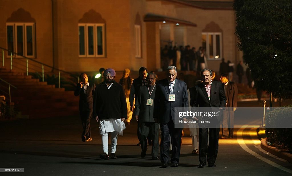 Congress leader Amrinder Singh (L) with Uttarakhand Chief Minister Vijay Bahuguna (2 R) and other leaders coming out from Chintan Shivir at Birla Auditorium on January 19, 2013 in Jaipur, India. Rahul Gandhi was appointed as the Vice President of Congress Party by the Congress Working Committee.