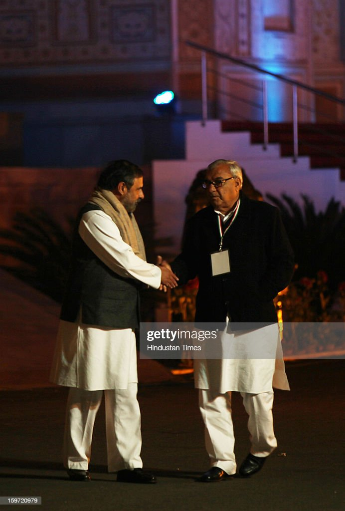 Congress leader Anand Sharma along with Haryana Chief Minister Bhupinder Singh Hooda , coming out from Chintan Shivir at Birla Auditorium on January 19, 2013 in Jaipur, India. Rahul Gandhi was appointed as the Vice President of Congress Party by the Congress Working Committee.