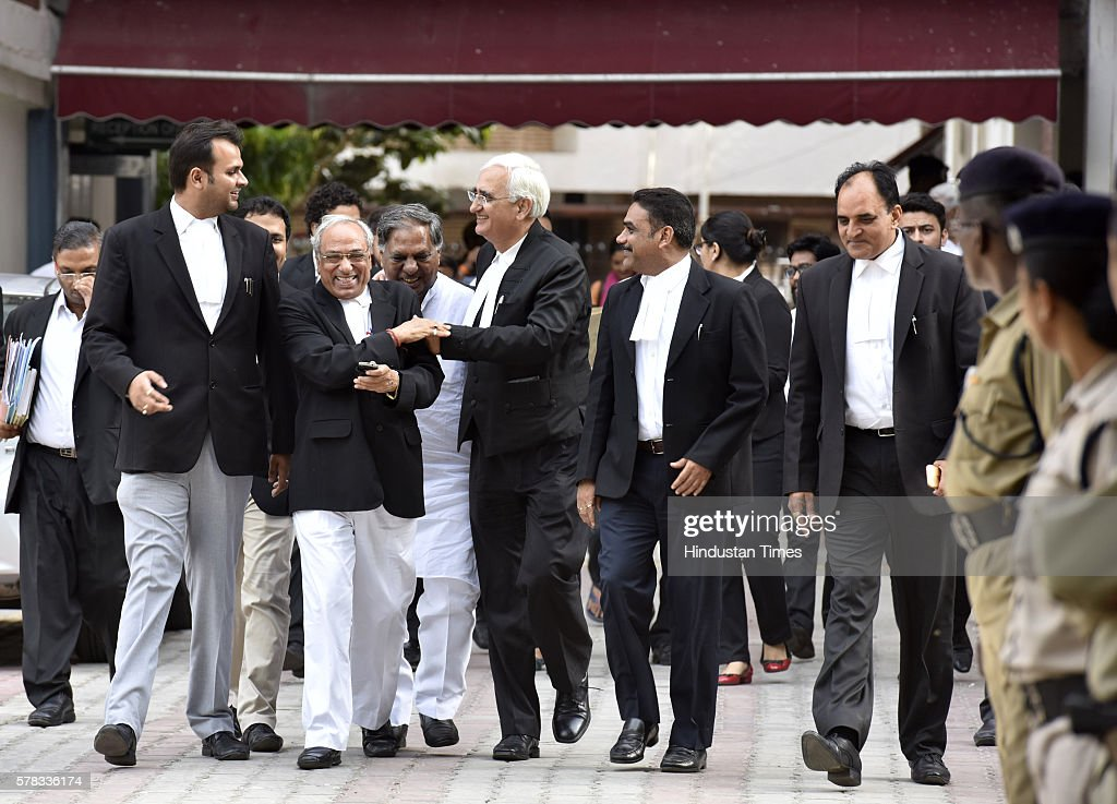 Congress leader and Lawyer Salman Khurshid along with others lawyers coming out after meeting with Election Commissioner at Election Commission...