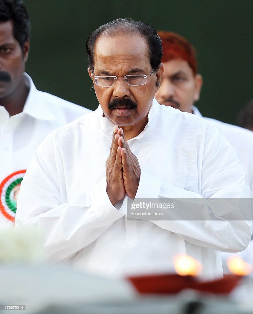 Congress leader and Minister of Petroleum and Natural Gas Marpadi Veerappa Moily pays tribute to former Indian Prime Minister Rajiv Gandhi on his birth anniversary at his memorial on August 20, 2013 in New Delhi, India. Rajiv Gandhi, who heralded the information and communication technology revolution in the country, was born on August 20, 1944 and served as the sixth Prime Minister of India from 1984-1989. He was assassinated by the LTTE on May 21, 1991 at Sriperumbudur in Tamil Nadu while addressing an election campaign.
