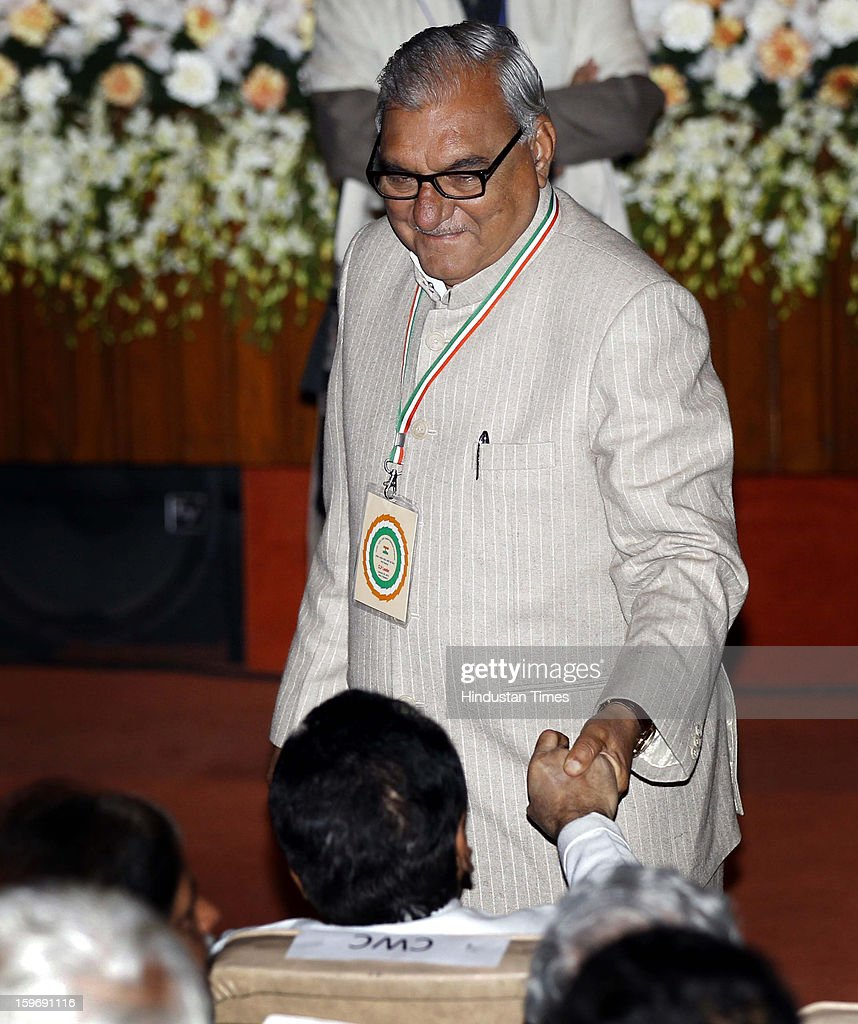 Congress leader Bhupinder Singh Hooda during the Chintan Shivir at Birla Auditorium, Jaipur on January 18, 2013 in Rajasthan, India. The Congress' brain-storming session began in Jaipur today and the focus is on the 2014 elections and Rahul Gandhi's role in leading the party in the battle. The ruling party hopes to emerge from the two-day-long session armed with strategy on, among other things, how to reconnect with an angry urban middle class.