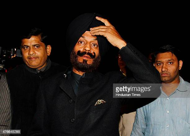 Congress leader MS Bitta is seen outside the Supreme Court as he expressed support to Sahara chairman Subrata Roy on March 4 2014 in New Delhi India...