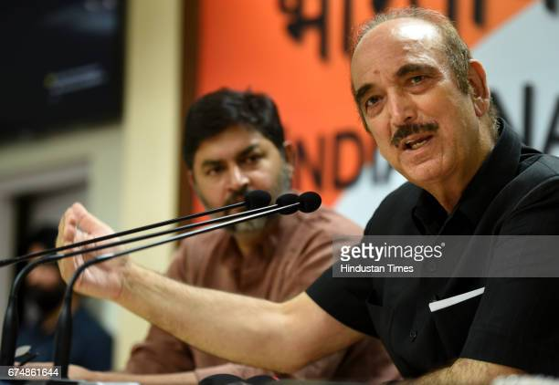 Congress leader Ghulam Nabi Azad addressing a press conference against the Modi government at AICC Headquarters on April 29 2017 in New Delhi India...
