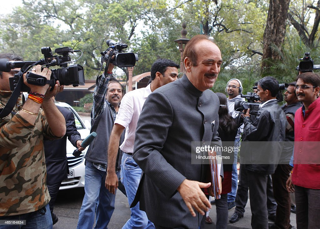 Congress leader <a gi-track='captionPersonalityLinkClicked' href=/galleries/search?phrase=Ghulam+Nabi+Azad&family=editorial&specificpeople=772783 ng-click='$event.stopPropagation()'>Ghulam Nabi Azad</a> during budget session at Parliament house on March 3, 2015 in New Delhi, India. Prime Minister Narendra Modi emphatically stated that his government has a zero-tolerance policy towards terror, distancing himself from Jammu and Kashmir Chief Minister Mufti Mohammad Sayeed's controversial statement regarding the recently held elections in the state.
