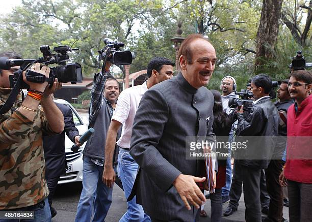 Congress leader Ghulam Nabi Azad during budget session at Parliament house on March 3 2015 in New Delhi India Prime Minister Narendra Modi...