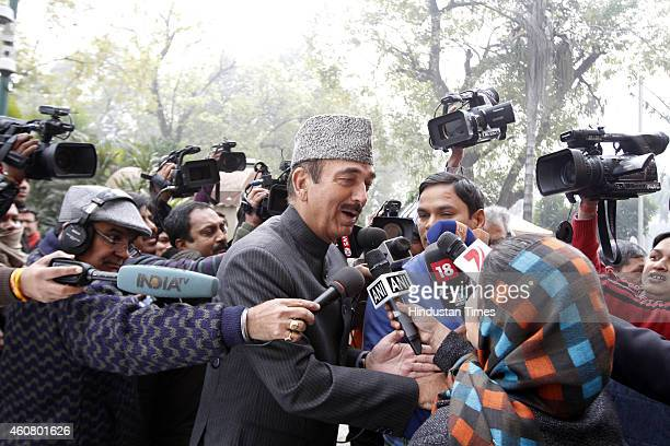 Congress Leader Ghulam Nabi Azad surrounded by media persons at Parliament House on last day of Parliament Winter Session on December 23 2014 in New...