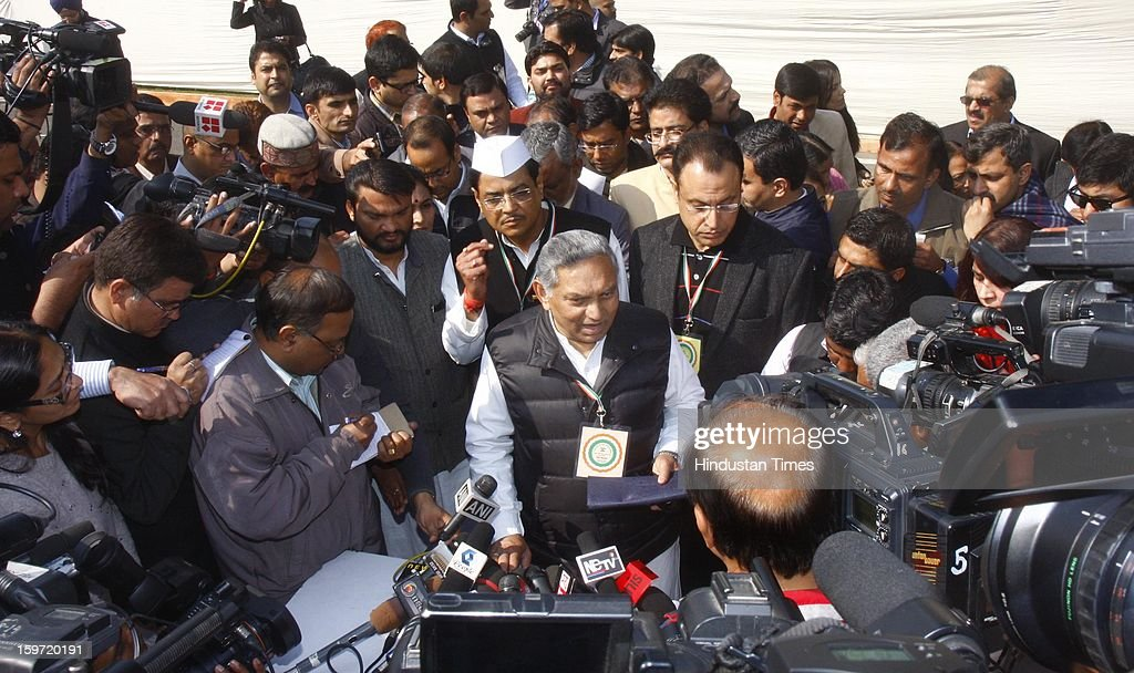 Congress leader Janardan Dwivedi talks to media persons at the Chintan Shivir at Birla Auditorium on January 19, 2013 in Jaipur, India. Rahul Gandhi was appointed as the Vice President by the Congress Working Committee.