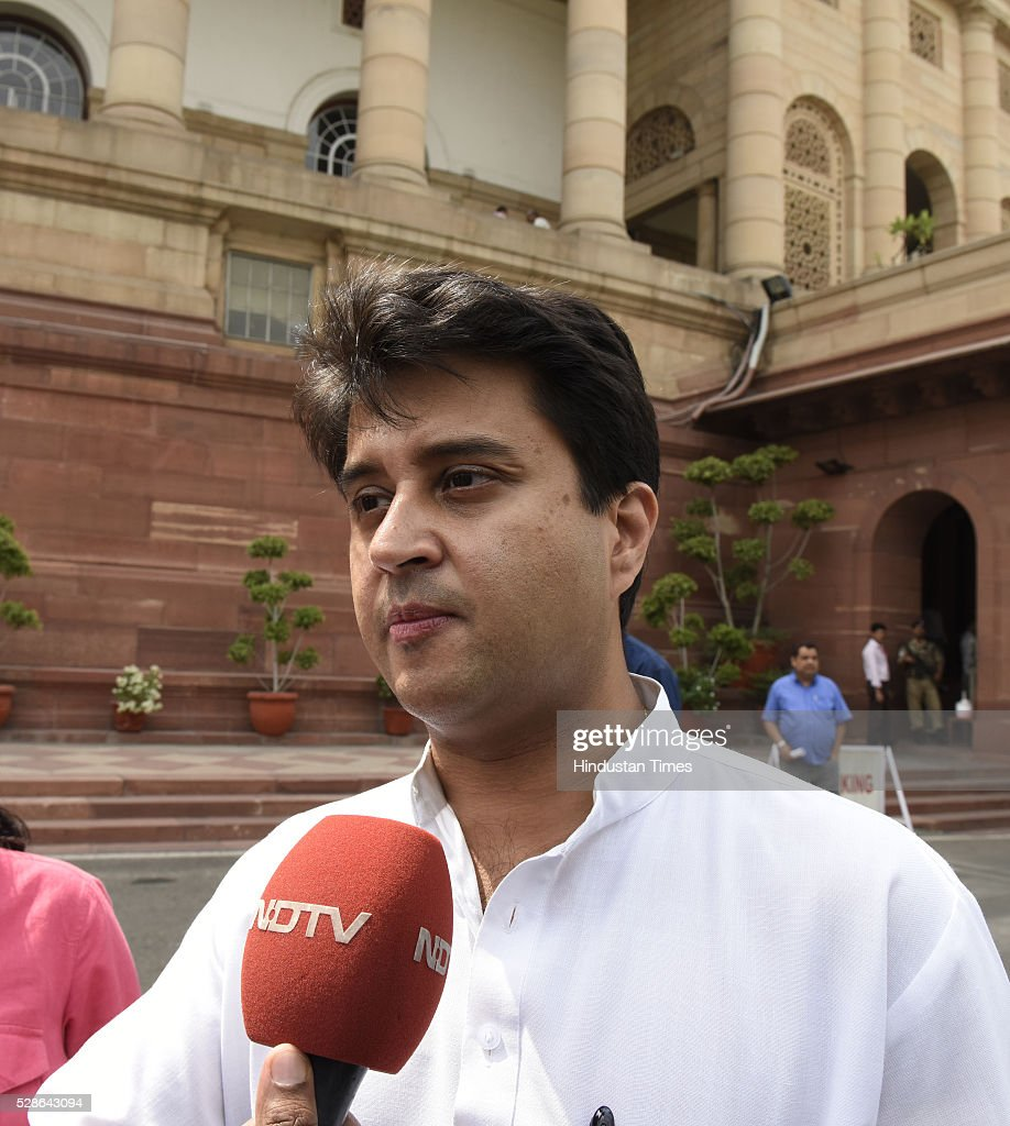 Congress leader Jyotiraditya Madhavrao Scindia at Parliament during the budget session on May 6, 2016 in New Delhi, India. Mounting attack on Congress, Defence Minister Manohar Parrikar said in Lok Sabha said the previous UPA government had done everything to help AgustaWestland bag the chopper deal and asserted that the main beneficiaries of the kickbacks will be tracked so that may be we can do what we could not do in Bofors.